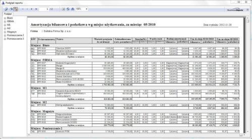 Przykładowy raport - amortyzacja podatkowa i bilansowa
