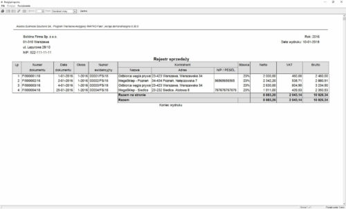 Przykładowy wydruk z rejestru sprzedaży VAT