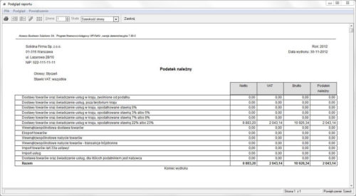 Ewidencja VAT - przykładowy raport z wielu rejestrów - zestawienie podatku należnego